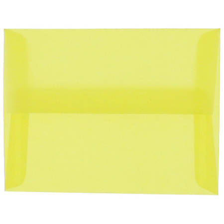 "JAM Paper® Translucent Envelopes With Gummed Closure, #4 Bar (A1), 3 5/8"" x 5 1/8"", Primary Yellow, Pack Of 25"