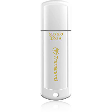 Transcend 32GB JetFlash 730 USB 3.0 Flash Drive - 32 GB - USB 3.0 - White - LED Indicator