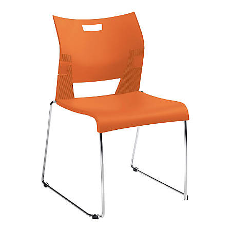 "Global® Duet Stacking Chairs, With Arms, 32 1/4""H x 20 1/2""W x 22 1/2""D, Tiger Orange, Pack Of 4"