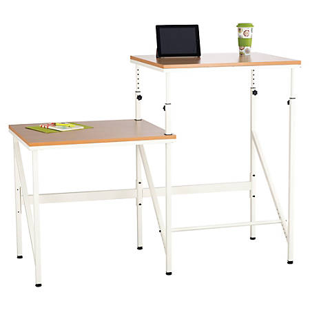 """Safco Bi-Level Stand/Sit Desk - Rectangle Top - 57.50"""" Table Top Width x 24"""" Table Top Depth x 0.75"""" Table Top Thickness - 50"""" Height - Assembly Required - White"""