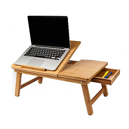 """Mind Reader Bamboo Laptop Bed Tray, 9""""H x 21""""W x 13.5""""D, Brown, BEDTRAYBMBRN"""