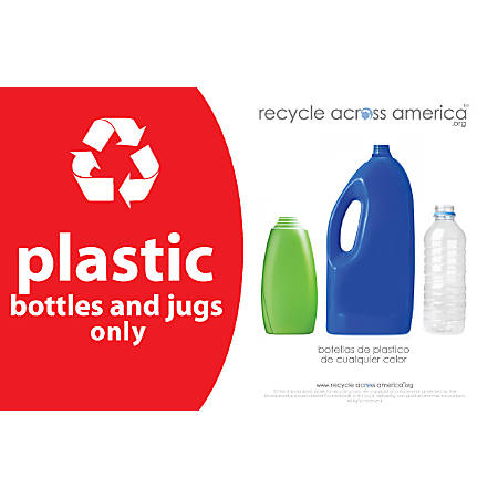 "Recycle Across America Plastics Standardized Recycling Label, PLAS-5585, 5 1/2"" x 8 1/2"", Red"