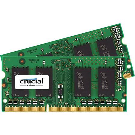 Crucial 16GB (2 x 8 GB) DDR3 SDRAM Memory Module - For Notebook - 16 GB (2 x 8 GB) - DDR3-1600/PC3-12800 DDR3 SDRAM - CL11 - 1.35 V - Non-ECC - Unbuffered - 204-pin - SoDIMM
