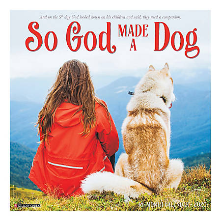 """Willow Creek Press Animals Monthly Wall Calendar, 12"""" x 12"""", So God Made A Dog, January To December 2020"""