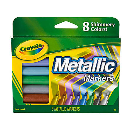 Crayola® Metallic Markers, Bullet Point, Assorted Colors, Pack Of 8