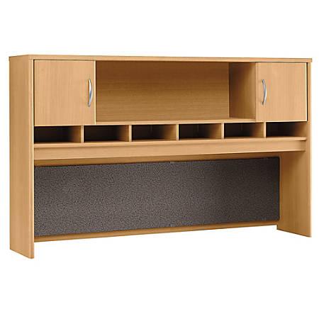 "Bush Business Furniture Components 2-Door Hutch, 72""W, Light Oak, Premium Installation"