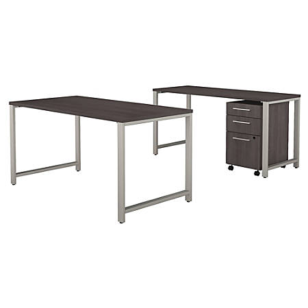 """Bush Business Furniture 400 Series 60""""W x 30""""D Table Desk with Credenza and 3 Drawer Mobile File Cabinet, Storm Gray, Premium Installation"""