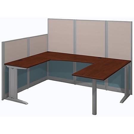 Bush Business Furniture Office In An Hour U Workstation, Hansen Cherry Finish, Premium Delivery