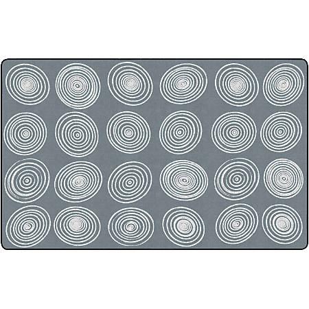 "Flagship Carpets Circles Rug, Rectangle, 7' 6"" x 12', Gray/White"