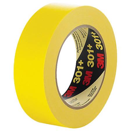 "3M™ 301+ Masking Tape, 3"" Core, 1.5"" x 180', Yellow, Case Of 12"
