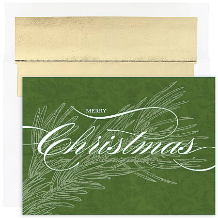 "Great Papers! Holiday Greeting Cards With Envelopes, 5 5/8"" x 7 7/8"", Christmas Greens, Pack Of 16"