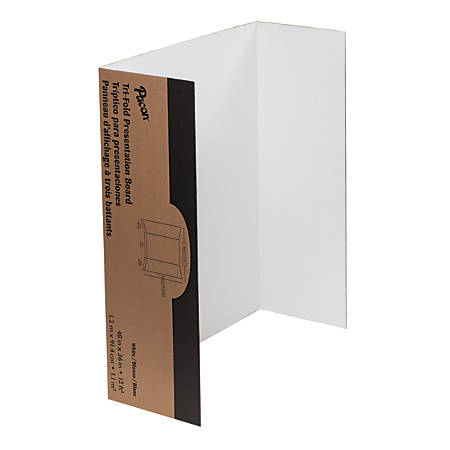 """Pacon® 80% Recycled Single-Walled Tri-Fold Presentation Boards, 48"""" x 36"""", White, Carton Of 4"""