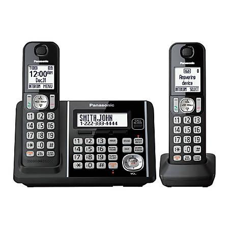 Panasonic® DECT 6.0 Cordless Telephone With Answering Machine And Dual Keypad, 2 Handsets, KX-TG3752B