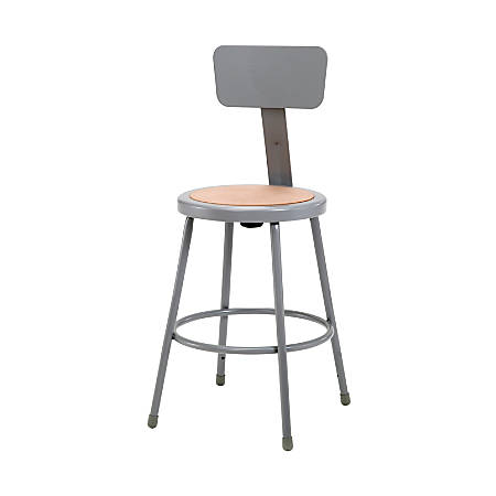 "National Public Seating Hardboard Stool With Back, 24""H, Gray"