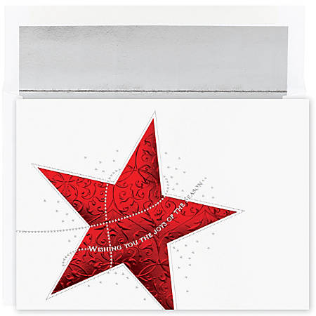 "Great Papers! Holiday Greeting Cards With Envelopes, 5 5/8"" x 7 7/8"", Holiday Star, Pack Of 16"
