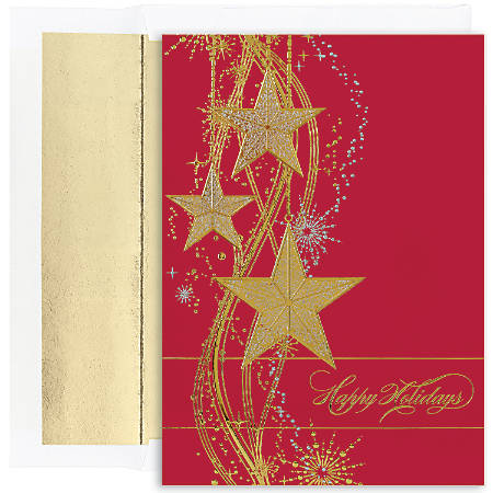 """Great Papers! Holiday Greeting Cards With Envelopes, 5 5/8"""" x 7 7/8"""", Shimmering Stars, Pack Of 16"""