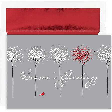 """Great Papers! Holiday Greeting Cards With Envelopes, 7 7/8"""" x 5 5/8"""", Treeline With Cardinal, Pack Of 16"""