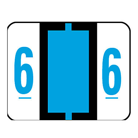 Smead® BCCRN Bar-Style Permanent Numerical Labels, 6, Blue, Roll Of 500