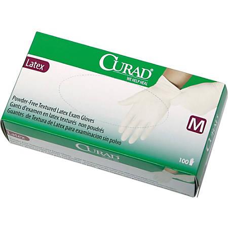 CURAD® Powder-Free Latex Exam Gloves, Medium, Box Of 100 Gloves