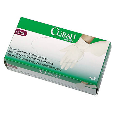 CURAD® Powder-Free Latex Exam Gloves, Large, Box Of 100 Gloves