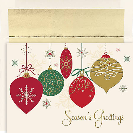 """Great Papers! Holiday Greeting Cards With Envelopes, 7 7/8"""" x 5 5/8"""", Christmas Ornaments, Pack Of 16"""