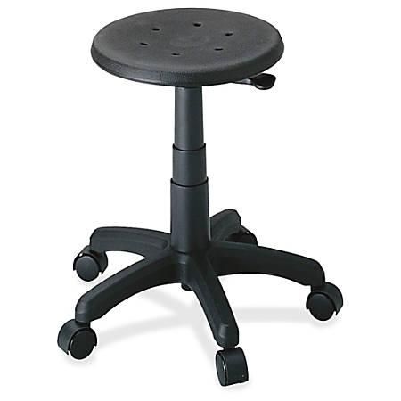 "Safco® Task Master® Office Stool, 21""H x 24 ""W x 24""D, Black Frame, Black Fabric"