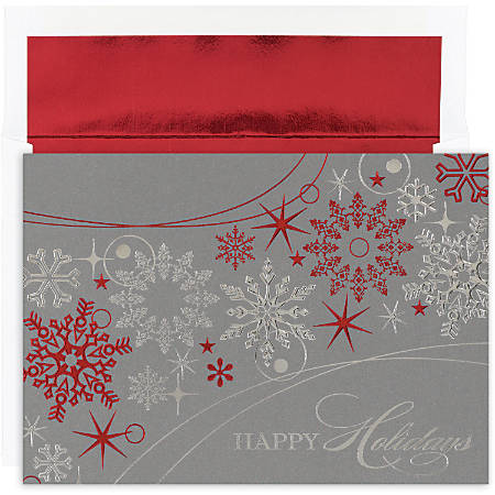 """Great Papers! Holiday Greeting Cards With Envelopes, 7 7/8"""" x 5 5/8"""", Shimmer Snowflakes, Pack Of 16"""