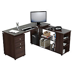 Inval L Shaped Computer Workstation Espresso Wengue By