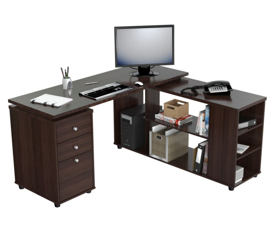 Inval L Shaped Computer Workstation Espresso Wengue By Office Depot U0026  OfficeMax