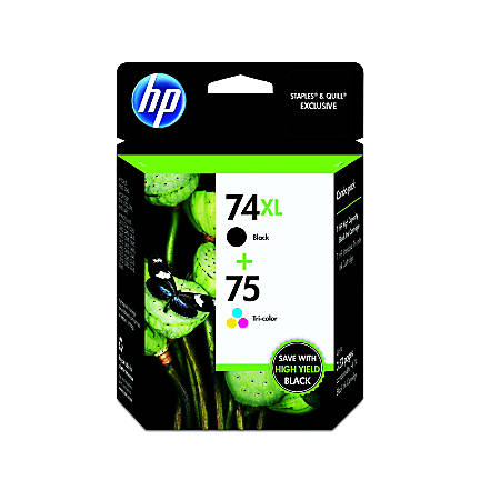 HP 74XL/75 Black/Tricolor Original Ink Cartridges (CZ139FN), Pack Of 2