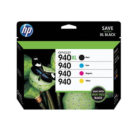HP 940XL/940 Black/Color Original Ink Cartridges (CZ143FN), Pack Of 4