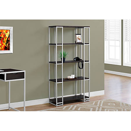 Monarch Specialties 4-Shelf Contemporary Metal Bookcase, Cappuccino/Silver