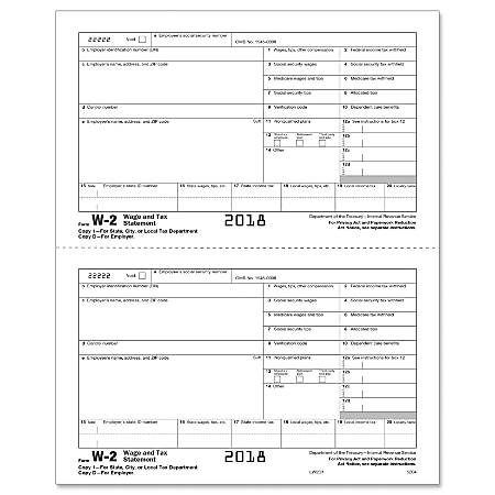 """ComplyRight™ W-2 Inkjet/Laser Tax Forms, Employer Copy D, 2-Up, 8 1/2"""" x 11"""", Pack Of 2,000 Forms"""