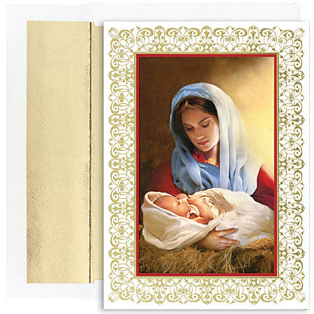 """Great Papers! Holiday Greeting Cards With Envelopes, 7 7/8"""" x 5 5/8"""", Madonna And Child, Pack Of 16"""