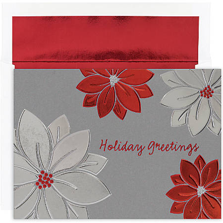 """Great Papers! Holiday Greeting Cards With Envelopes, 7 7/8"""" x 5 5/8"""", Holiday Poinsettias, Pack Of 16"""