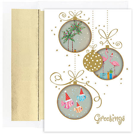 "Great Papers! Holiday Greeting Cards With Envelopes, 5 5/8"" x 7 7/8"", Tropical Ornaments, Pack Of 18"