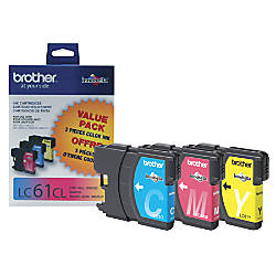 Brother LC61CMY Tricolor Ink Cartridges Pack