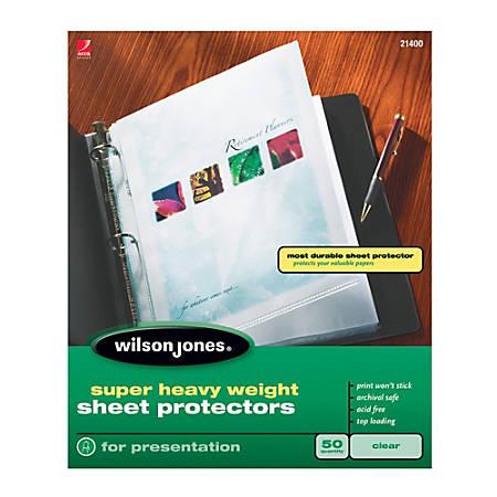 Wilson Jones® Top-Loading Sheet Protectors, Super-Heavyweight, Box Of 50
