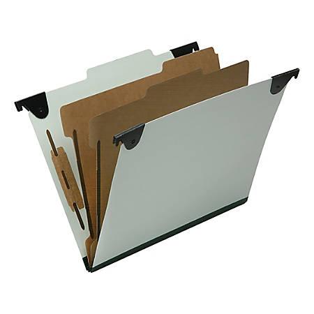 "SKILCRAFT 6 Section 2/5 ROC Tab Hanging Folders - 1"" Folder Capacity - Letter - 8 1/2"" x 11"" Sheet Size - 2/5 Tab Cut - 2 Divider(s) - 25 pt. Folder Thickness - Pressboard, Kraft, Fiber - Light Green - Recycled - 10 / Box - TAA Compliant"