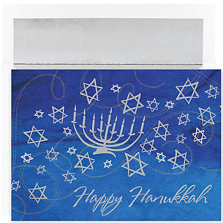 """Great Papers! Holiday Greeting Cards With Envelopes, 7 7/8"""" x 5 5/8"""", Menorah And Stars, Pack Of 18"""