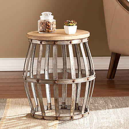 Southern Enterprises Mencino Accent Table, Round, Antique Silver/Weathered Fir