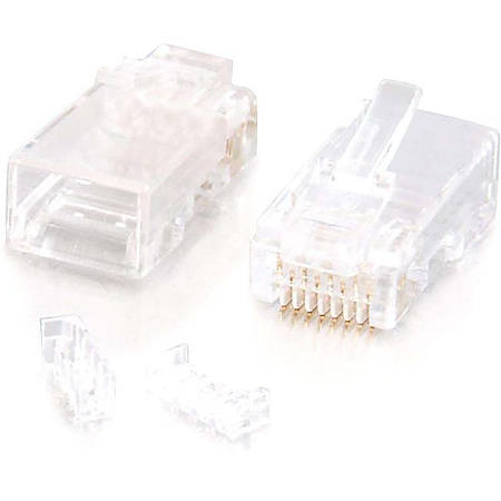 C2G RJ45 Cat5E Modular (with Load Bar) Plug for Round Solid/Stranded Cable - 100pk - RJ-45