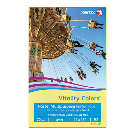Xerox® Vitality Colors™ Multipurpose Printer Paper, Ledger Paper Size, 20 Lb, 30% Recycled, Yellow, Ream Of 500 Sheets