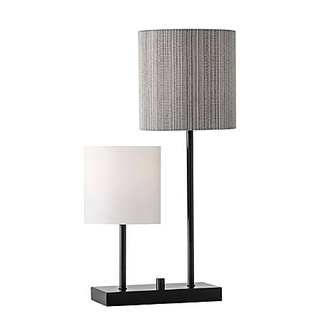 "Adesso® Aubrey Table Lamp, 25 1/2""H, Black And White/Gray Shades/Black Base"
