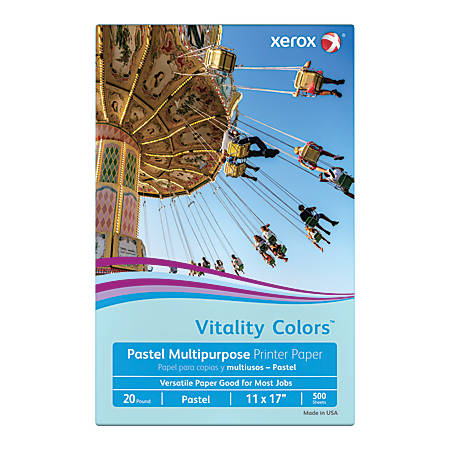 Xerox® Vitality Colors™ Multipurpose Printer Paper, Ledger Paper Size, 20 Lb, 30% Recycled, Blue, Ream Of 500 Sheets