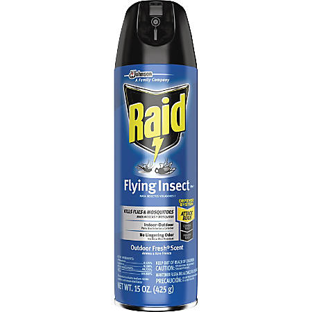 Raid Flying Insect Killer 15 oz - Spray - Kills Flies, Mosquitoes, Gnats, Hornet, Moths, Fruit Fly, Wasp, Yellow Jacket, Bugs - 15 fl oz - Off White