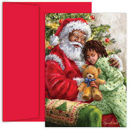 """Great Papers! Holiday Greeting Cards With Envelopes, 5 5/8"""" x 7 7/8"""", Santa Hug, Pack Of 18"""