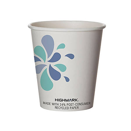 Highmark® Breakroom Hot Cups, 10 Oz, White/Blue/Black, Pack Of 500