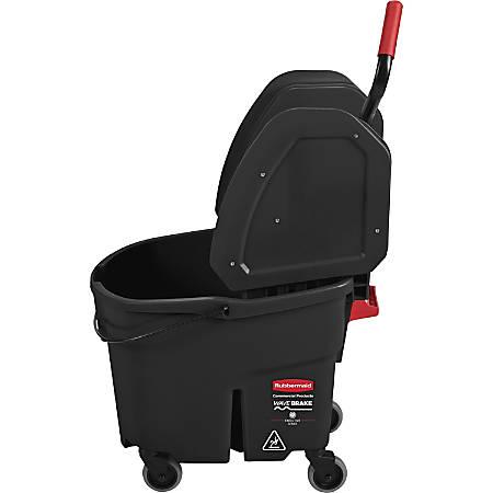 "Rubbermaid Commercial WaveBrake Down Press Mop Bucket - 35 quart - 27.4"" x 16.1"" - Tubular Steel - Black"