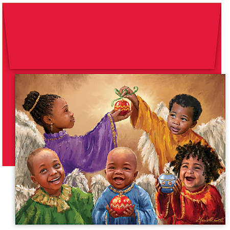 "Great Papers! Holiday Greeting Cards With Envelopes, 7 7/8"" x 5 5/8"", Christmas Cherubs, Pack Of 18"
